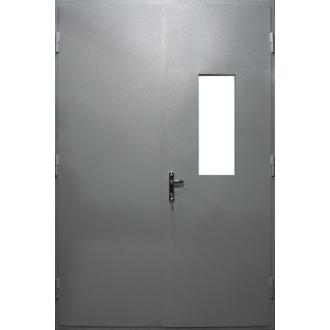 Двухстворчатая противопожарная дверь с растекловкой