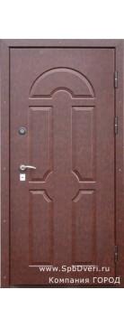 Входная металлическая дверь МДФ Кожа коричневая