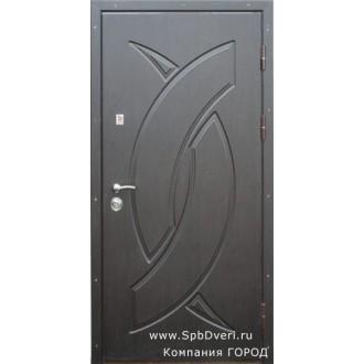 Металлическая дверь МДФ Венге темный