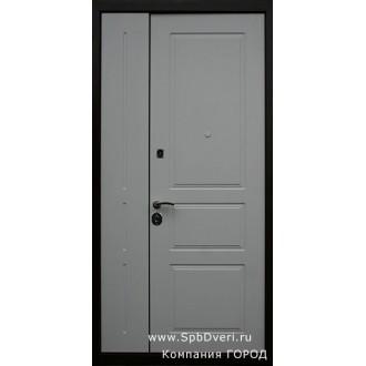 Дверь металлическая двухстворчатая МДФ белый дуб