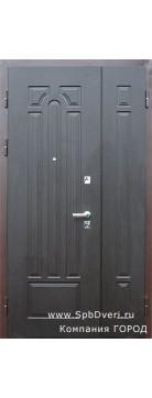 Дверь металлическая двухстворчатая МДФ Венге темный
