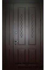 Дверь металлическая двухстворчатая МДФ карбон