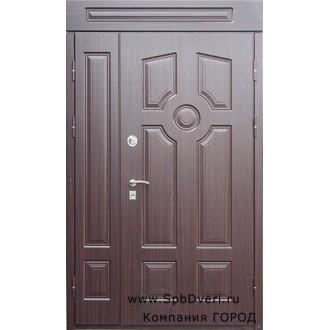 Дверь металлическая двухстворчатая МДФ с зашивкой