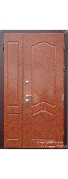 Дверь металлическая двухстворчатая МДФ Корень ореха