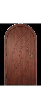 """Входная металлическая дверь """"Кожа коричневая"""" арочная"""