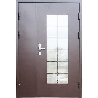 Полуторная металлическая дверь с решеткой