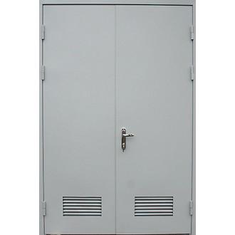 Двустворчатая техническая дверь с вентиляционной решеткой